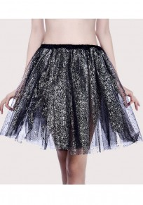 Black Sequin Grenadine Pleated Fluffy Puffy Tulle Sweet Party Skirt