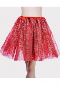 Red Sequin Grenadine Pleated Fluffy Puffy Tulle Sweet Party Skirt