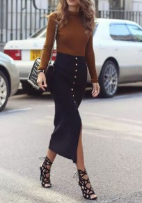 Black Single Breasted Slit High Waisted Work Suit Bodycon Elegant Skirt