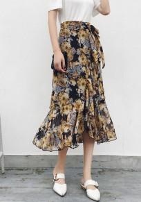 Jupe manches volantéesirréguliers floraux cordon de serrage à la taille doux jaune