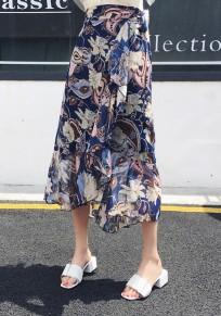 Sapphire Blue Floral Irregular Ruffle Drawstring Waist Sweet Skirt