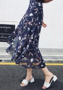 Dark Blue Floral Irregular Ruffle Drawstring Waist Sweet Skirt