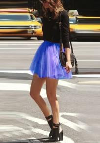Falda plisada adina esponjosa de talle alto patinador fluido tutú lindo corto azul real