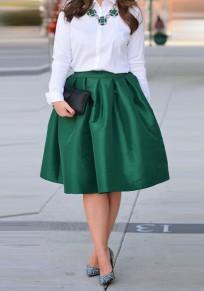 Mi-longue jupe patineuse plissé bouffante taille haute mode femme verte