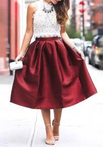 Mi-longue jupe patineuse plissé bouffante taille haute mode femme bordeaux