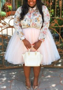 Light Pink Pleated Grenadine Puffy Tulle Plus Size Tutu High Waisted Party Skirt