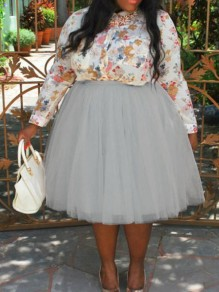 Grey Pleated Grenadine Puffy High Waisted Plus Size Tutu Skater Party Skirt