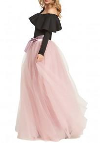 Rosa Bänder Schleife Drapiert Hohe Taille Puffy Elegant Party Maxirock Tüllrock Damen Mode