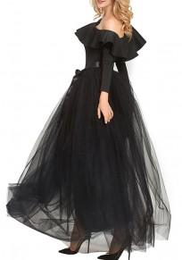 Falda llano adina pajarita drapeado elástico moda negro