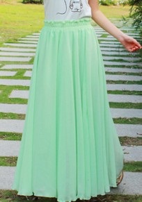 Light Green Plain Draped Elastic Waist Fashion Chiffon Skirt