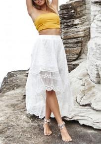 Jupe longue en dentelle drapé haut-bas taille haute mode d'été blanc