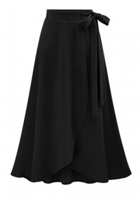 Black Plain Bow Irregular Elastic Waist Fashion Skirt
