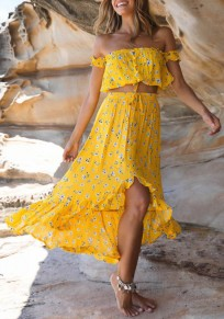 Yellow Ruffle Irregular Drawstring High-Low Flowy High Waisted Bohemian Party Skirt