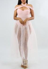 White Beaded Beading Grenadine Draped High Waisted Sheer Tutu Clubwear Party Long Skirt