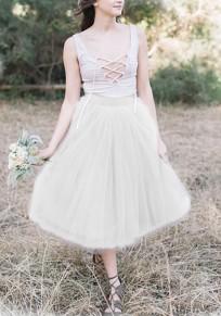 Mi-longue jupe taille haute tutu en tulle mode femme blanc