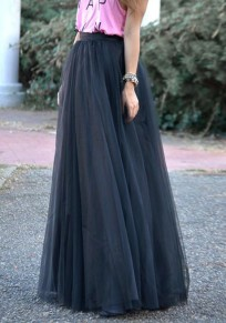 Black Grenadine High Waisted Bridesmaid Homecoming Party Elegant Skirt