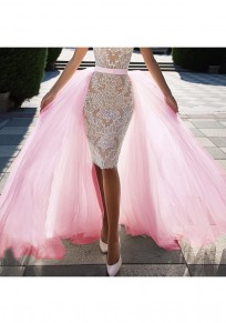 Pink Grenadine Pleated High Waisted Bridesmaid Banquet Elegant Party Skirt