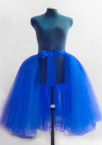 Blue Grenadine Pleated High Waisted Bridesmaid Banquet Elegant Party Skirt