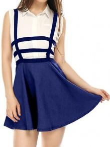Falda corte cinturón condole cintura alta azul