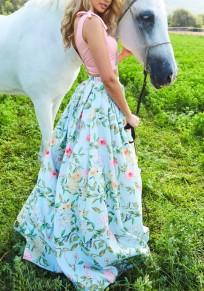 Grün Blumen A-Linie Hohe Taille Süßer Elegant Sommer Bohemian Maxirock