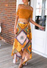 Yellow Tribal Print Irregular Swallowtail Sashes High-low Bohemian Party Skirt