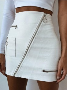 White Zipper Bodycon Evening Cocktail Party Going out PU Latex Skirt