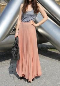 Jupe longue en mousseline plissé élégant femme rose pastel