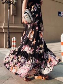 Black Floral Animal Print Ruffle Zipper Fashion Skirt