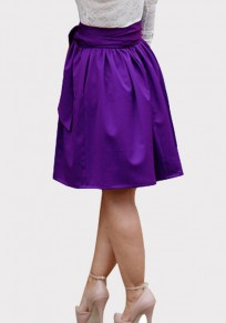 Purple Pockets Sashes Draped Tutu High Waisted Elegant Skirt