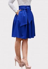 Jupe poches à ceinture drapé tutu haute taille élégante bleu
