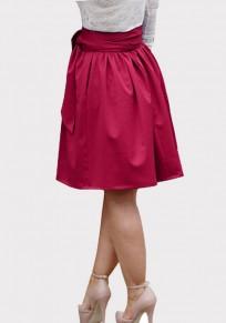 Burgundy Pockets Sashes Draped Tutu High Waisted Elegant Skirt