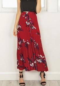 Jupe imprimé fleuri boutons mode haute taille drapée rouge
