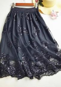 Black Patchwork Grenadine Embroidery Elastic Waist Sweet Skirt