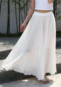 Weiß Drapiert Unregelmäßig High Waisted Elegant Bohemian Maxi Rock Damen