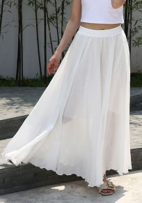 White Draped Big Swing Flowy High Waisted Elegant Bohemian Skirt