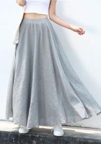 Jupe longue en mousseline fluide taille élastique mode décontracté boho femme gris