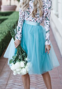 Blau Plissee Mesh Hohe Taille Mode Entzückende Tutu Midirock Oversize Damen Tüllrock