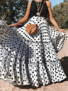 White Polka Dot Ruffle Draped Flowy High Waisted Oversize Bohemian Beachwear Party Skirt