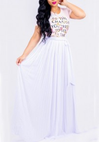 White Pleated Sashes Ruched Flowy High Waisted Bohemian Beachwear Party Skirt