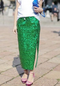 Green Sequin Pockets Glitter Side Slit High Waisted Party Long Skirt
