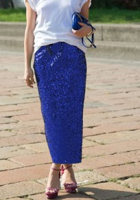 Royal Blue Sequin Pockets Glitter Side Slit High Waisted Party Long Skirt