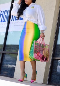 Blue Color Block Omombre Rainbow Bodycon High Waisted Elegant Party Skirt