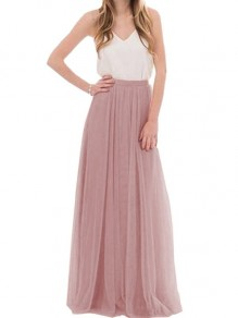 Pink Pleated Grenadine Fluffy Puffy Tulle Elastic Waist Casual Sweet Going out Long Skirt