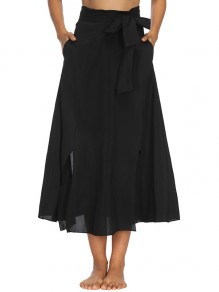 Black Sashes Bow Pockets High Waisted Vintage Skirt