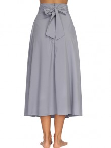Grey Sashes Bow Pockets High Waisted Vintage Skirt