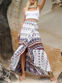 White Floral Print Side Slit Flowy Bohemian Long Skirt