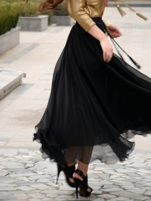Black Patchwork Chiffon Elastic Waist Elegant Going out Tulle Skirt