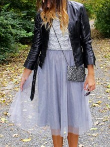 Grey Patchwork Grenadine Pleated High Waisted Flowy Fluffy Cute Midi Skirt