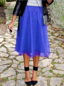 Royal Blue Patchwork Grenadine Pleated High Waisted Flowy Fluffy Cute Midi Skirt