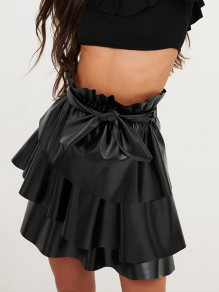 Black Ruffle Bow High Waisted Sweet Going out Skirt